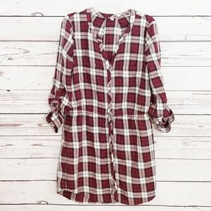 Red plaid dress Soft Joie Cassina shirtdress